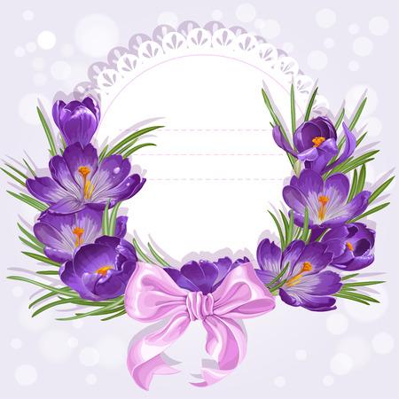 flores moradas: Tarjeta a cielo abierto con la guirnalda de azafranes amarillas y púrpuras. Simplemente imprima y firme Vectores