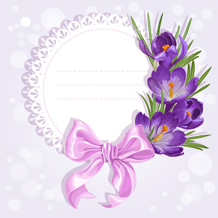 saffron: Openwork card with wreath of yellow and purple crocuses. Just print and sign