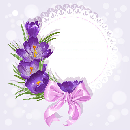 Openwork card with wreath of yellow and purple crocuses. Just print and sign