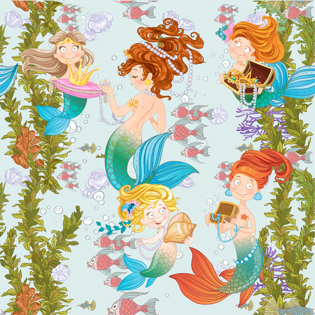 Seamless background of underwater world with cute mermaids  Ilustrace