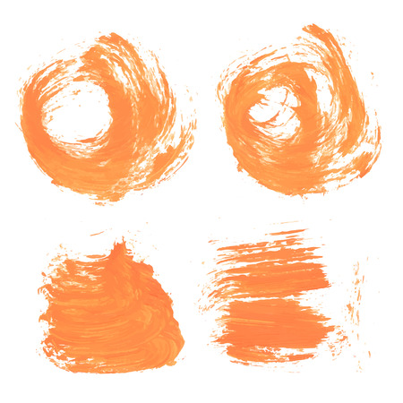 smears: Abstract orange paint realistic smears