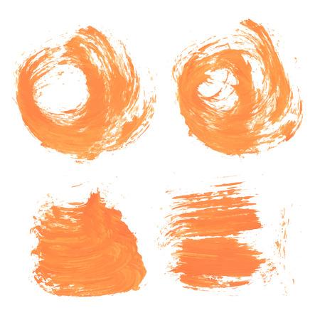 smears: Abstract orange paint realistic smears