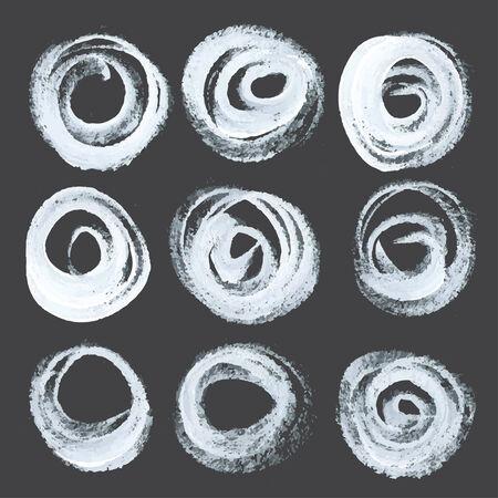 peinture blanche: R�sum� coups de rondes r�alistes tir�s peinture blanche �paisse sur papier noir Illustration
