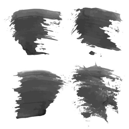 Abstract realistic smears black ink on white paper  Vector