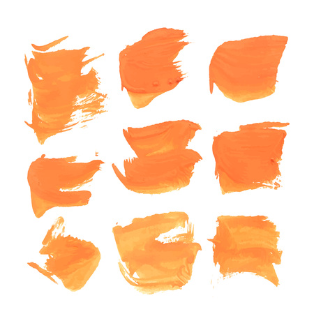 smears: Abstract realistic smears orange gouache paint  Illustration