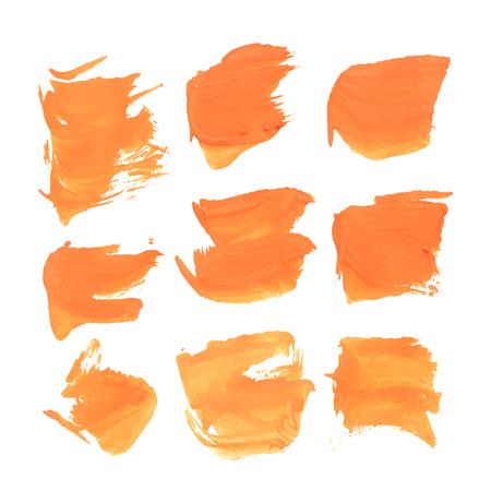smears: Abstract realistic smears orange gouache paint  Illustration