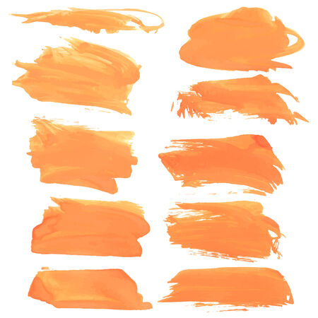 smears: Abstract realistic smears orange gouache paint on white paper