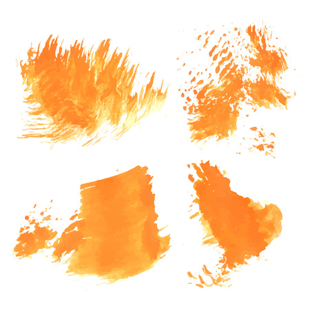 smears: Abstract realistic smears orange paint on white paper