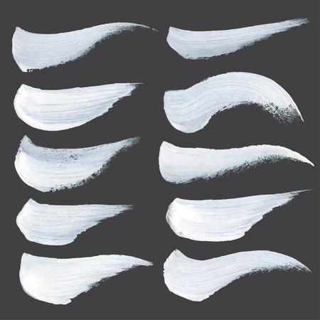 peinture blanche: R�sum� coups r�alistes tir�es de la peinture blanche ronde �paisse sur papier noir