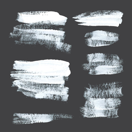 Abstract realistic strokes drawn thick white paint on black paper  Vector