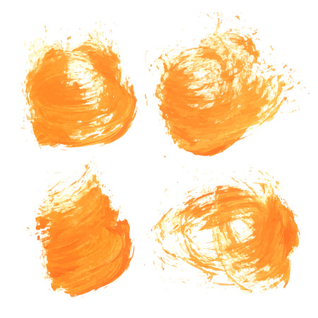 wet paint: Abstract realistic wet smears orange paint on white paper