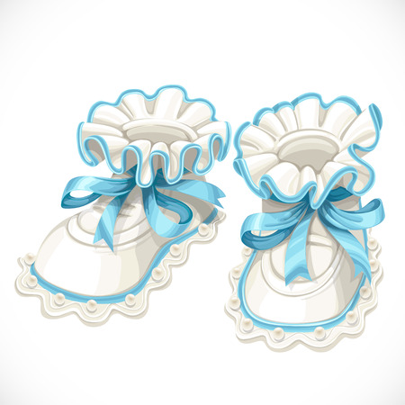 baby shoes: Baby blue booties isolated on white background Illustration