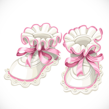 baby shoes: Baby pink booties isolated on white background