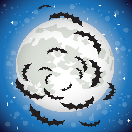 dung: Bats flying in the night sky on the background of the full moon Illustration