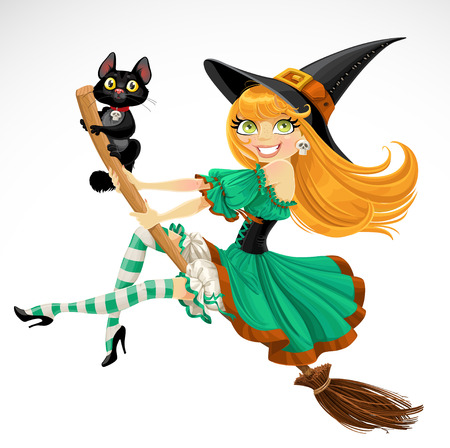 Beautiful red haired witch and her black cat familiar flying on a broomstick  isolated on white background Vector