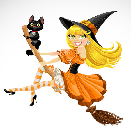 Beautiful witch and her black cat familiar flying on a broomstick  isolated on white background Ilustracja