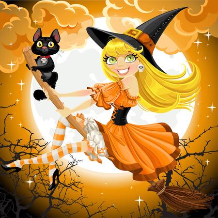 Mooie heks en haar zwarte kat vertrouwd vliegen op een bezemsteel op hemel Halloween