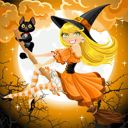 Beautiful witch and her black cat familiar flying on a broomstick on Halloween sky