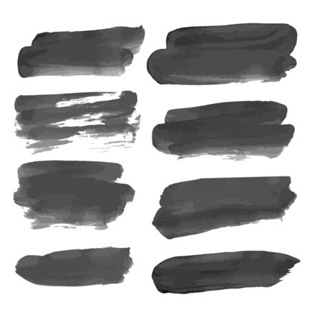 wet paint: Black abstract wet paint strokes  Illustration