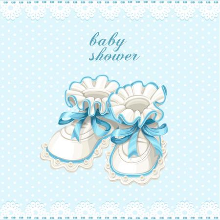 pram: Blue booties baby shower card Illustration