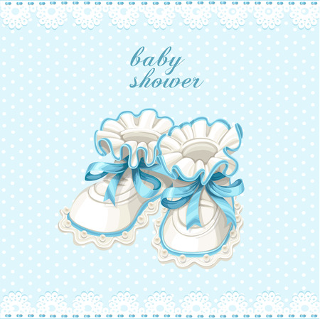 Blue booties baby shower card Illustration