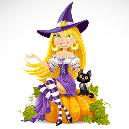 Leuke jonge heks zit op een pompoen met een kat op een witte achtergrond