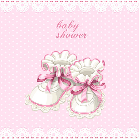 Pink booties baby shower card Vector