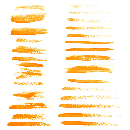 dry brush: Big set of orange hand drawn by dry brush strokes