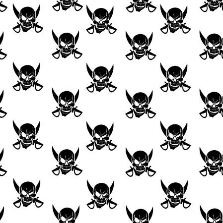 privateer: Black Jolly Roger white seamless background