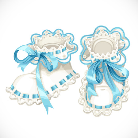 Blue booties for newborn isolated on white background Illustration