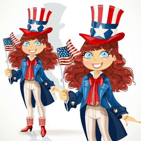 national women of color day: Cute girl in a suit of Uncle Sam Illustration