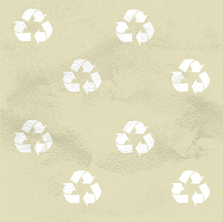 Eco recycle symbol beige seamless pattern Vector