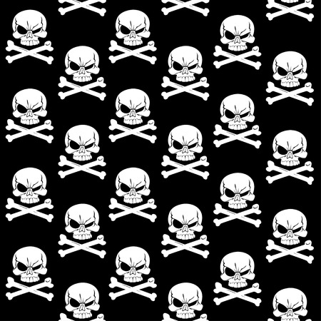 Jolly Roger on black seamless background Vector