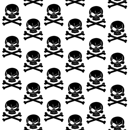 Jolly Roger on white seamless background