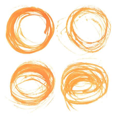 wet paint: Orange abstract circular strokes wet paint Illustration