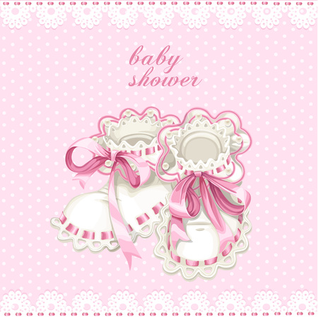 Pink booties for newborn baby shower card