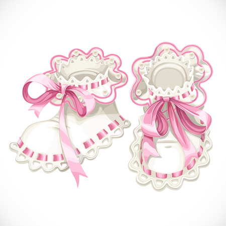Pink booties for newborn isolated on white background