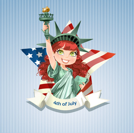 Poster with a beautiful girl dressed like statue of liberty on USA Independence Day Vector