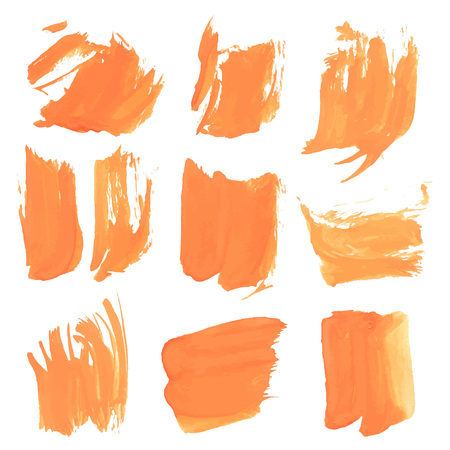 streak: Realistic strokes thick orange paint on a white surface