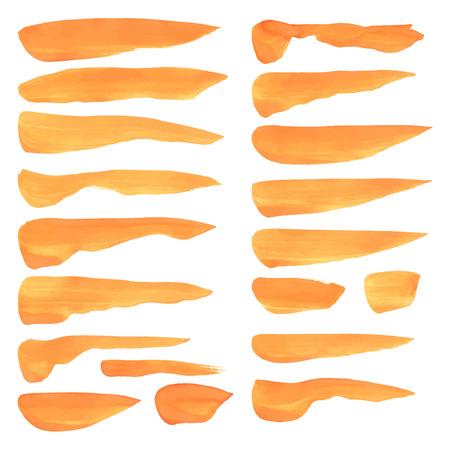 wet paint: Realistic strokes wet orange paint on a white surface