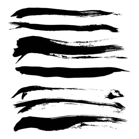 Set of hand-drawn direct smear thick paint Vector