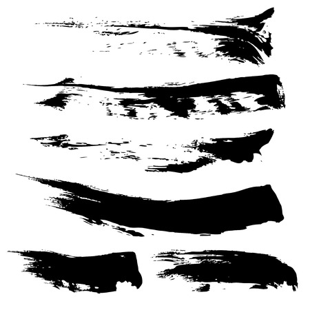 Set van handgetekende directe uitstrijkje dikke verf