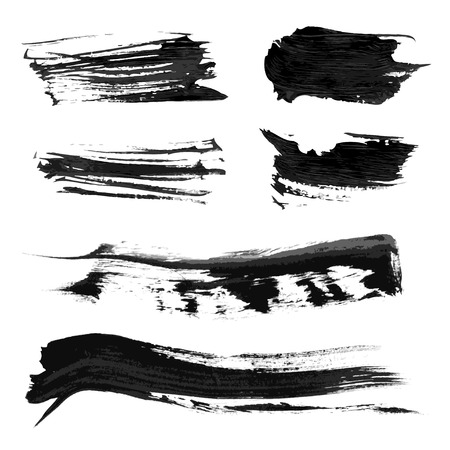 and sumi: Set realistic vector black thick paint strokes