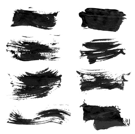 paint brush stroke: Set realistic vector black thick paint strokes Illustration