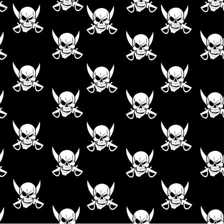 privateer: skull seamless background