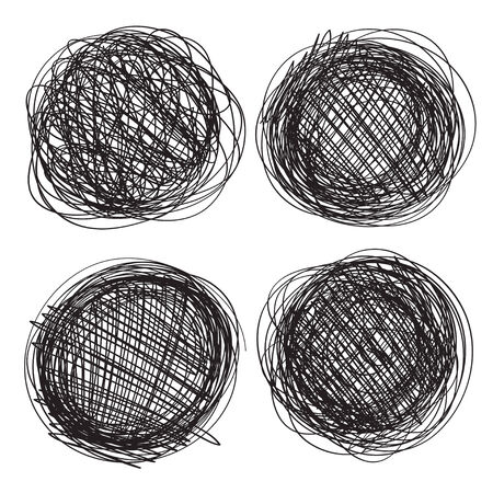 Abstract circles drawn in pencil isolated on white background 1. Line drawing. Graphics Vector