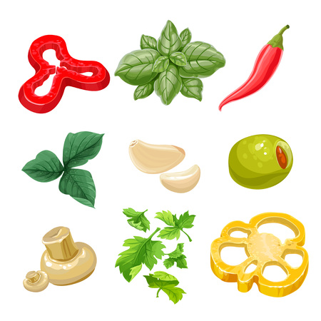 bell pepper: Food ingredients Series 1 - yellow bell pepper, olive, hot pepper, basil, parsley, garlic, marinated mushrooms