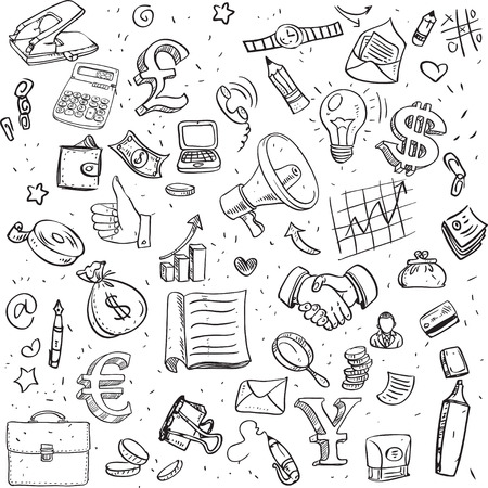 Seamless pattern of black doodles on business theme Vector