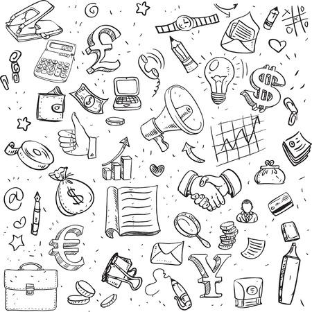 Seamless pattern of black doodles on business theme Illustration