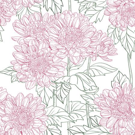 line drawings: Seamless pattern of line drawings chrysanthemum